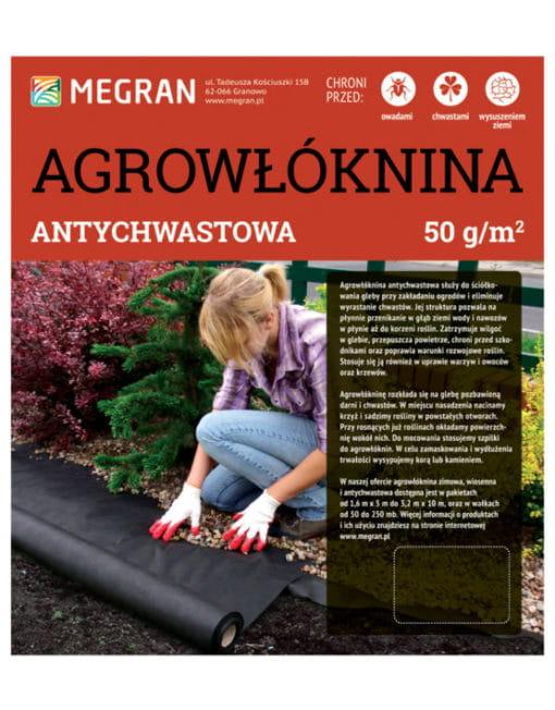 Agrowłóknina 50g/m2 Antychwastowa czarna 1,6 m x 10 mb